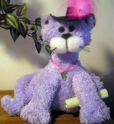Mrs Kitti Plush Toy Cat and Her Traveling by stitchesandstuff, $29.95