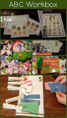 Here are some fun activities for practicing letter recognition. | ABCs Workbox | Line upon Line Learning blog www.RebeccaReid.com