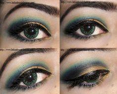 Blue Gold Eye Makeup tutorial