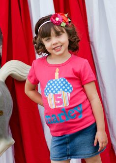 Birthday Shirt - Personalized Cupcake Shirt - Available in White or Pink Shirt or Onesie and Short or Long Sleeve. $27.50, via Etsy.