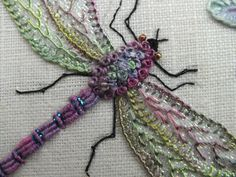 Embroidered dragon fly - this would look GREAT embellished with some czech fire-polished beads!