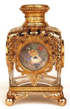 Antique 19th Century Napoleon III Glass and Bronze Doré Scent Bottle antiqu 19th, 19th centuri, 19th century, scent bottl, glass, antiqu napoleon, bronz doré, antiques, napoleon iii