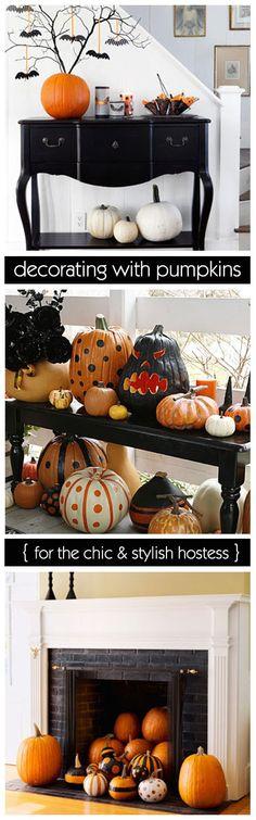 halloween decorations, polka dots, pumpkin decorations, decorating ideas, halloween pumpkins, pumpkin decorating, painted pumpkins, fall holidays, halloween ideas