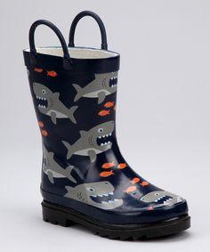 #zulily #fall Navy Shark Attack Rain Boot