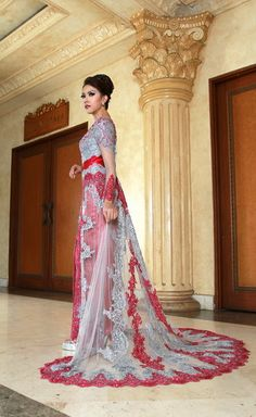 Kebaya fashion original from indonesia jaya company supplier.this kebaya like european design but this one is kebaya.with long and large trail with Pink sweety color.want it?