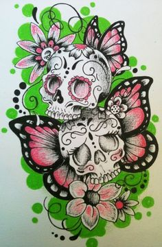 sugar skullsthis is what i want on my arm to start mt sleeve with my kids name in it and than a boy skull super cute
