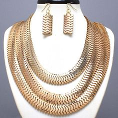 Bring all-out Glamour Chunky Shinny Gold Wide Tri Row Chain Necklace Earrings $23.99