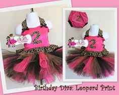 Birthday Party Diva Tutu Outfit - Leopard or Zebra Animal Print (Number, Crown, or Cupcake) Cake Smash - Pageant-via Etsy.