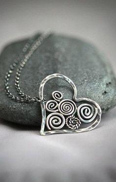 Swirly Sterling Silver Filigree Heart Necklace