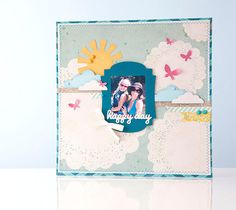 Happy Day scrapbook page layout. Make It Now in Cricut Design Space