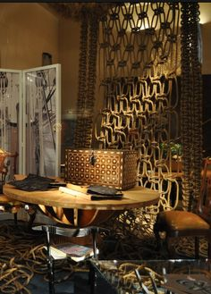 Macrame rope room divider between Lava Lounge and Spa pond