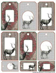 Mercantile Muse: FREE Vintage Deer Gift Tags and Time To LINK UP