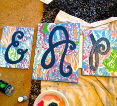 Lilly Pattern Monogram Canvas Paintings by PeaceAndPainting, $70.00