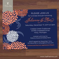 bridal shower navy and coral, flowers, bridal shower invitations, navy and coral bridal shower, blossoms, wedding shower invitations, babi shower, baby showers, bridal showers