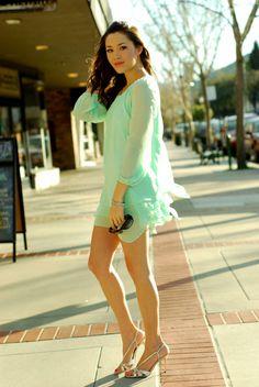 mints, feminin dress, fashion, inspir style, colors