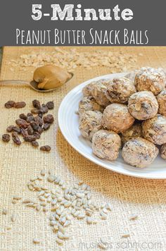 5 Minute Peanut Butter Snack Balls - yummy, protein-filled snack with oatmeal, peanut butter, honey, flaxseed, sunflower seeds, raisins, cinnamon, and nutmeg!