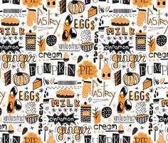 Pumpkin Pie gift wrap by Demigoutte on Spoonflower