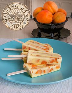 Apricot Vanilla-Bean Custard Popsicles  Prep Time: 25 Minutes, Plus 4 Hours Freezing Cook Time: 15 Minutes  Makes: Ten 3-oz Popsicles