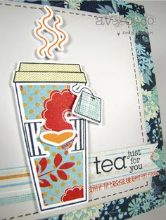 """Emily Leiphart gets super creative with the digital die cuts and masking. She created a custom sentiment """"tea"""" from another sentiment in the set. Check out her blog for details."""