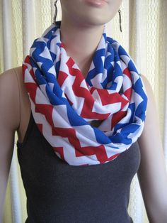 Patriots Team Colors Red White and Blue Chevron Infinity Scarves Texans Giants Buffalo Bills - Patriotic American Flag colors for Fourth of July - by ChevronScarf on Etsy