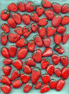 """""""Stones painted as strawberries when put around strawberry plants in the spring will keep birds from eating your berries when they ripen because the birds will think the ripened berries are stones."""""""
