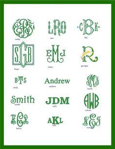 Our menu of custom monogram option | SwellCaroline.com