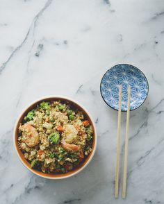 Lightened-Up Fried Rice —half the (brown) rice is swapped for cauliflower rice
