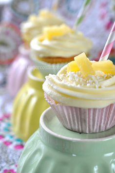 Coconut Cupcakes with Pina Colada Cream Buttercream