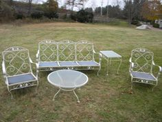 5 piece good shape sturdy strong early 1970s mid century metal outdoor MEADOWCRAFT LAWN PATIO furniture 2 chairs couch 2 tables pick up only...