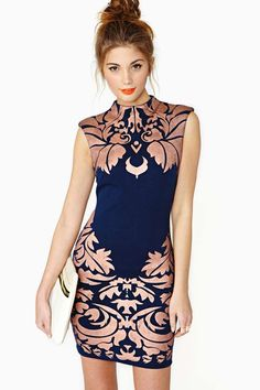 Royal Leaf Dress in navy and bronze