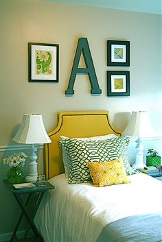 wall art, headboard, big letters, color schemes, guest bedrooms, kid rooms, guest rooms, mustard yellow, girl rooms