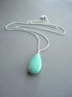 Turquoise, Silver Chain, Handmade Jewelry, Necklace, Blue, December Birthday for $19.00 at etsy.com