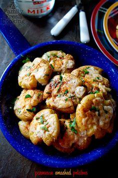 Parmesan Smashed Potatoes by familyfreshcooking #Potatoes #Parmesan