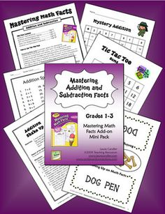 Mastering Addition and Subtraction Facts is a supplementary Mini Pack ebook to be used with Mastering Math Facts: Multiplication and Division. The printables, games, and activities are similar to the ones in the original book and are great for math centers and cooperative learning groups. $