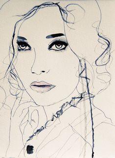 Twilight Blue  Fashion Illustration Art Print