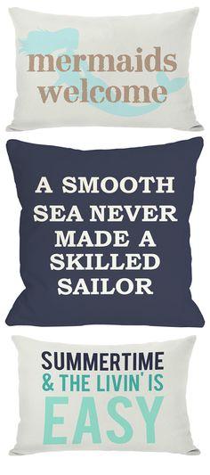 Cute pillows with fun messages! #mermaid #beach #summer #sailor #pillows #home #decor