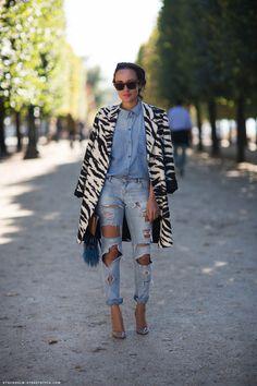 Zebra on denim on denim spotted on http://www.thecoveteur.com/ #inmyjeans #netaporter #denim