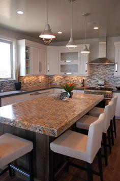 Kitchen granite top island  glass tile back-splash