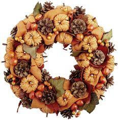 diy wreath, pumpkin, pinecon wreath