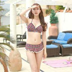 Floral-Print Frilled Bikini