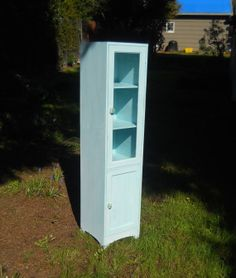 Large Whitewashed Seafoam Green Teal Bathroom Cabinet with Glass door Stand up