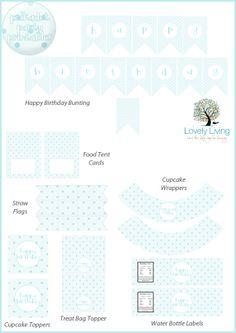 Free Blue Polkadot Party Printables