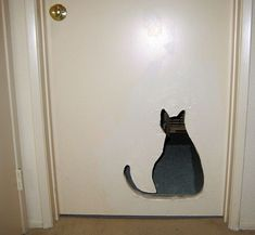 Our Pets - laundry room door, leading to litter box (luv it!)