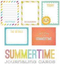 Free Summertime Journaling Cards