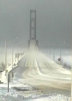 Mighty Mac on a cold winter day!  I think I would have post-poned going home if I had to cross the bridge like this.