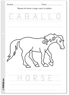 Actividad Caballo Horse #vocabulary #animals #worksheet #preschool #KS1 #classroom #ESL #SSL