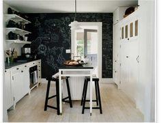 Chalk board wall in kitchen