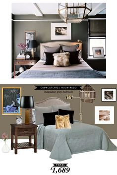 A moody master bedroom featured on Lonny recreated for only $1689 by @lindseyboyer