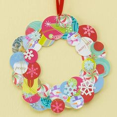 Greeting Cards Wreath   Recycle greeting cards
