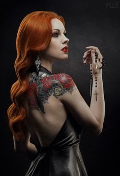 hair colors, portrait photography, red hair, goth, roses